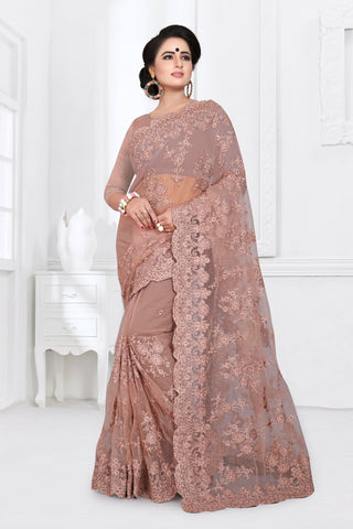 Light Brick Red Color Net Saree - DNO-356