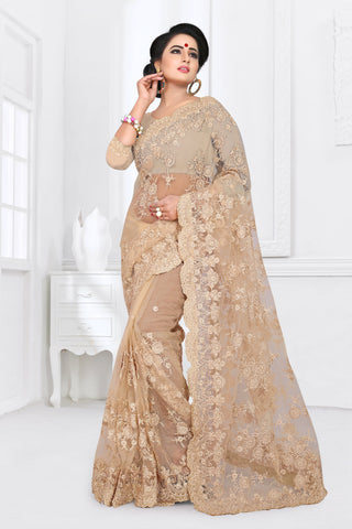 Cream Color Net Saree - DNO-359