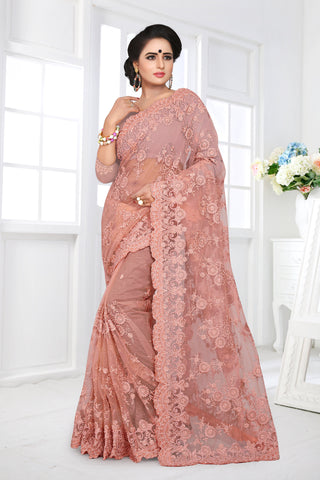 Peach Color Net Saree - DNO-361
