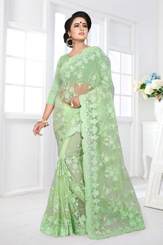 Light Green Color Net Saree - DNO-362