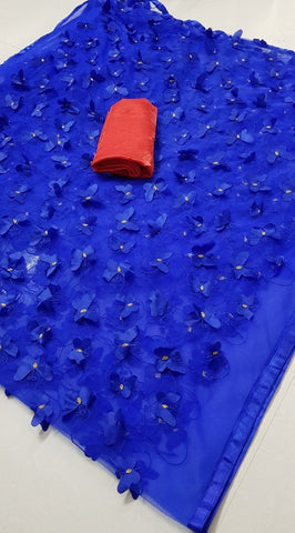 Blue Color Mono Net Women's Saree - DNO.1061_BLUE