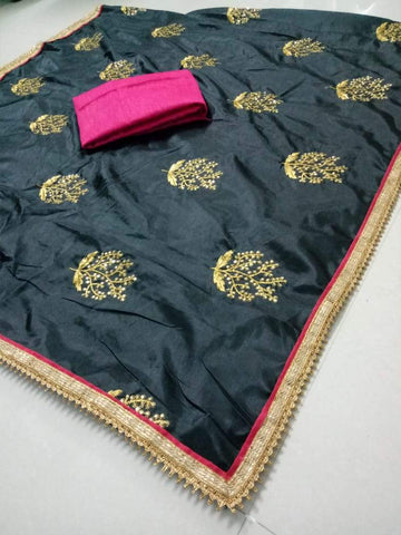 Black Color Paper Silk Women's Saree - DNO.1065_BLACK