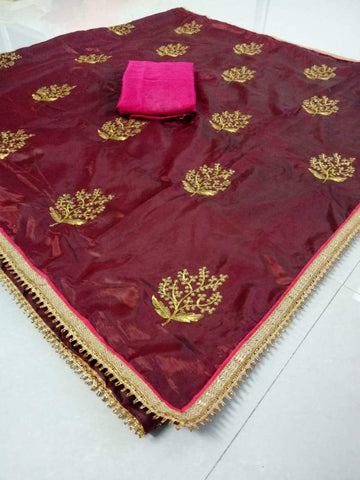 Coffee Color Paper Silk Women's Saree - DNO.1065_COFFEE