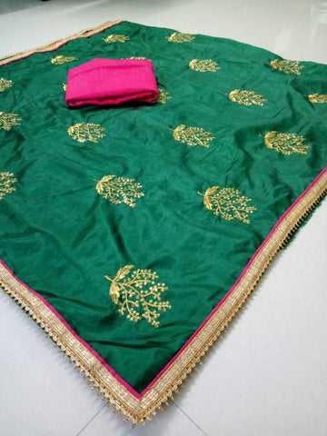 Green Color Paper Silk Women's Saree - DNO.1065_GREEN