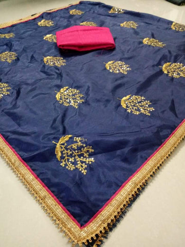 Navy Blue Color Paper Silk Women's Saree - DNO.1065_NAVYBLUE