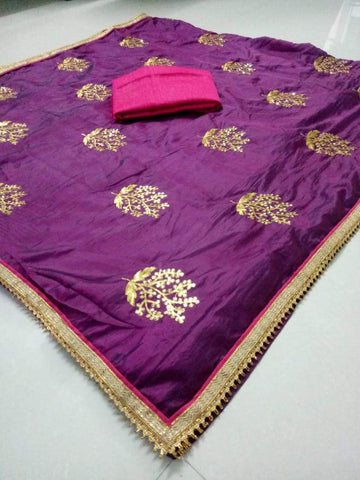 Purple Color Paper Silk Women's Saree - DNO.1065_PURPLE
