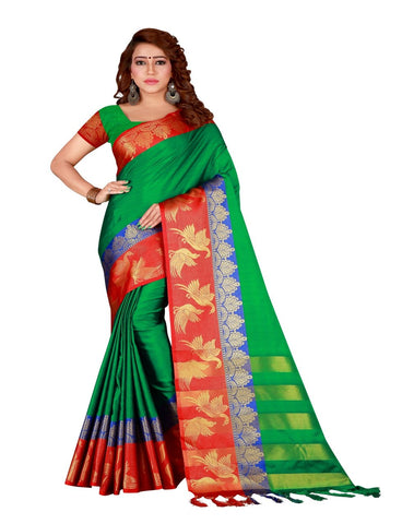 Green Color Cotton Silk Women's Saree - DNO.156Green