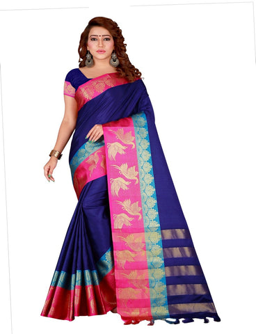 Navy Blue Color Cotton Silk Women's Saree - DNO.156NavyBlue
