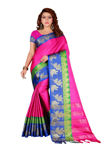 Pink Color Cotton Silk Women's Saree - DNO.156Pink