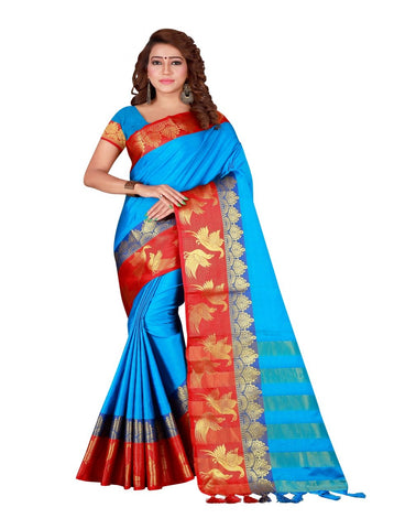 Sky Blue Color Cotton Silk Women's Saree - DNO.156SkyBlue