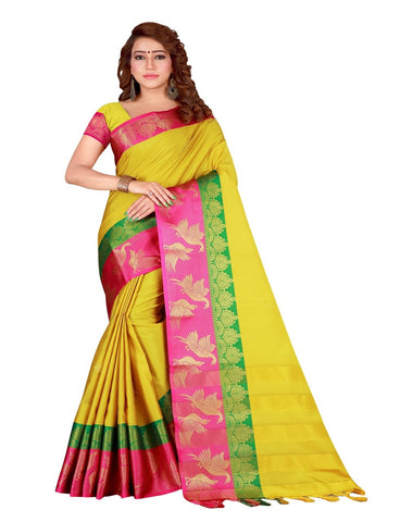 Yellow Color Cotton Silk Women's Saree - DNO.156Yellow