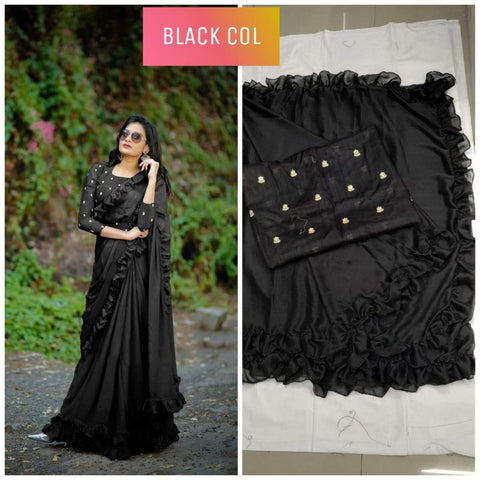 Black Color Banglori Silk Saree - DNO451-BLACK