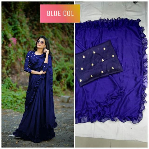 Blue Color Banglori Silk Saree - DNO451-BLUE