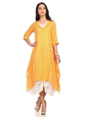 Orange Color Cotton Stitched Kurti - DNOV30