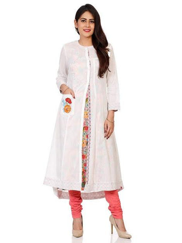 Off White Color Cotton Stitched Kurta - DNOV31