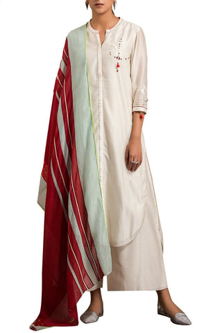 Ivory Color Cotton Silk Stitched Kurta Set - DNOV32
