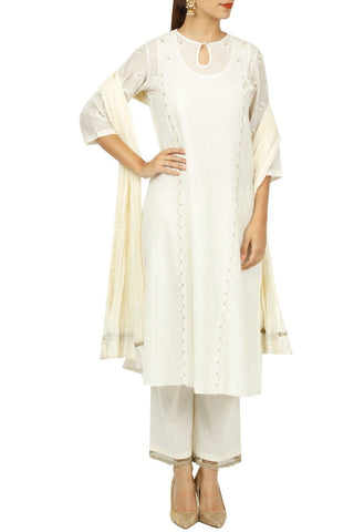 Ivory Color Cotton Silk Stitched Kurta Set - DNOV33