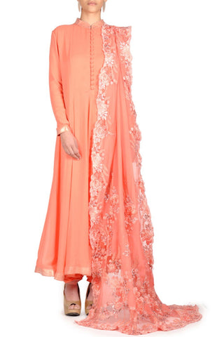 Peach Color Georgette Stitched Kurta Set - DNOV34