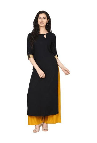 Black Color Rayon Stitched Kurta - DNOV36