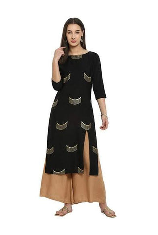 Black Color Crepe Stitched Kurti - DNOV37