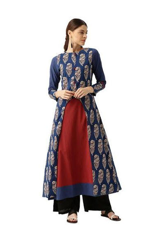 Blue Color Cotton Stitched Kurta - DNOV38