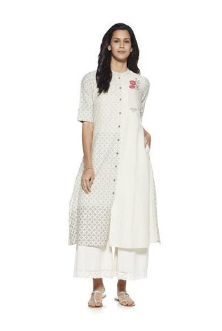 Off White Color Cotton Stitched Kurta - DNOV40