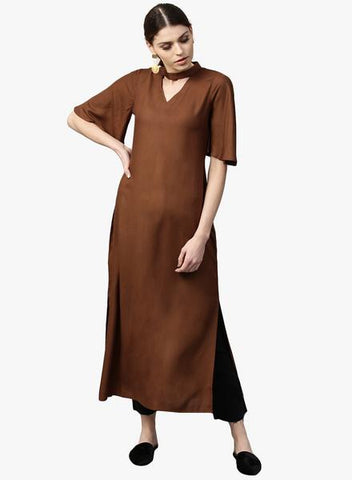 Brown Color Rayon Stitched Kurta - DNOV44