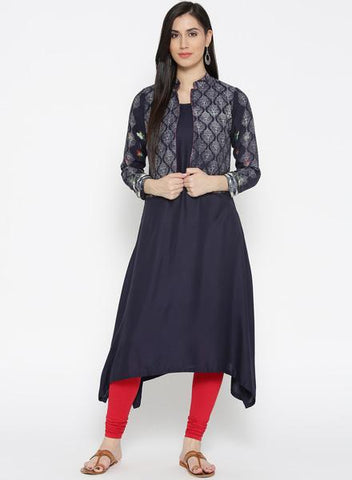Blue Color Cotton Stitched Kurti - DNOV46