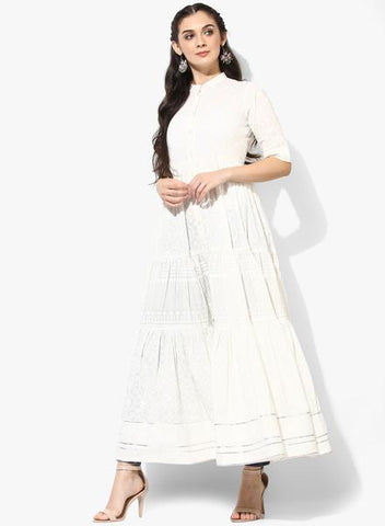 White Color Cotton Stitched Kurti - DNOV47