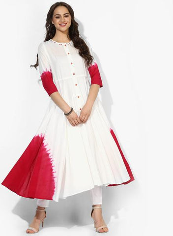 White Color Cotton Stitched Kurti - DNOV48