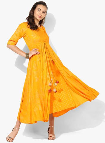 Yellow Color Rayon Stitched Kurta - DNOV51