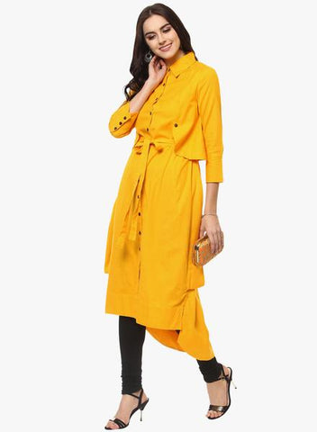 Yellow Color Rayon Stitched Kurta - DNOV52