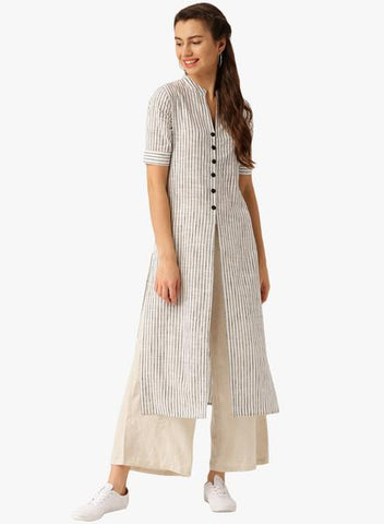 Off White Color Cotton Stitched Kurti - DNOV53