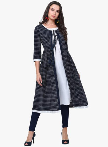 Blue Color Cotton Stitched Kurti - DNOV54