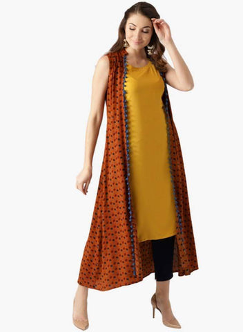 Brown Color Rayon Stitched Kurta - DNOV56