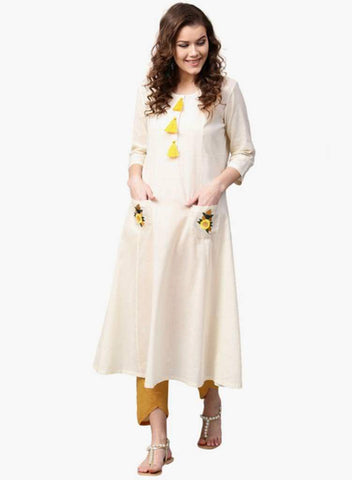 Off White Color Cotton Stitched Kurta - DNOV57