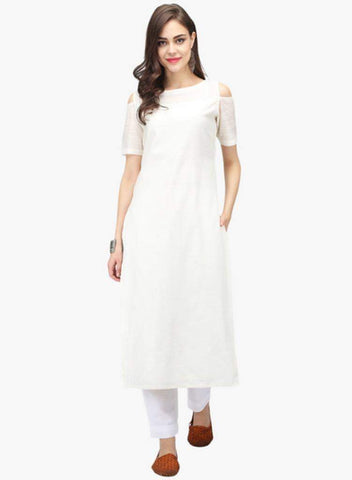 White Color Cotton Stitched Kurta - DNOV58