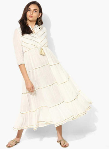 White Color Cotton Stitched Kurti - DNOV59