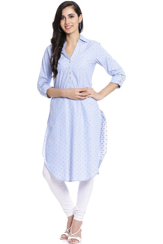 Blue Color Cotton Stitched Kurta - DNOV62