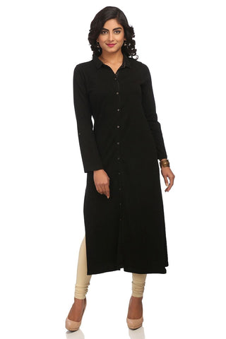 Black Color Cotton Stitched Kurta - DNOV63