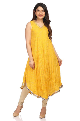 Yellow Color Cotton Stitched Kurta - DNOV64