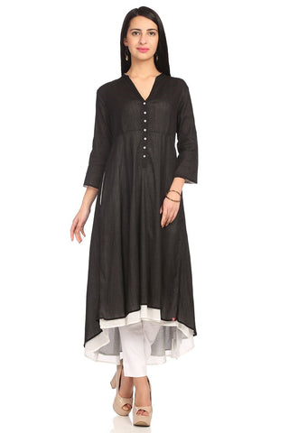 Black Color Cotton Stitched Kurta - DNOV65