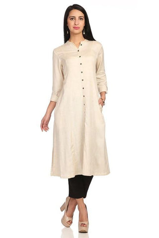 Off White Color Rayon Stitched Kurta - DNOV66