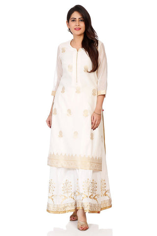 Off White Color Cotton Stitched Kurta - DNOV68