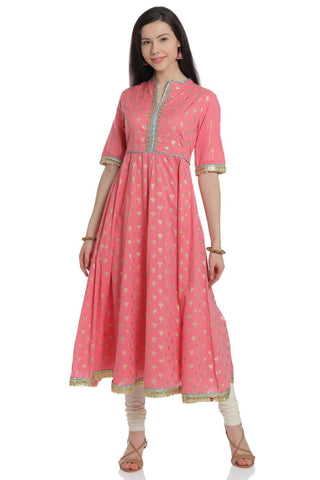 Pink Color Cotton Stitched Kurta - DNOV69