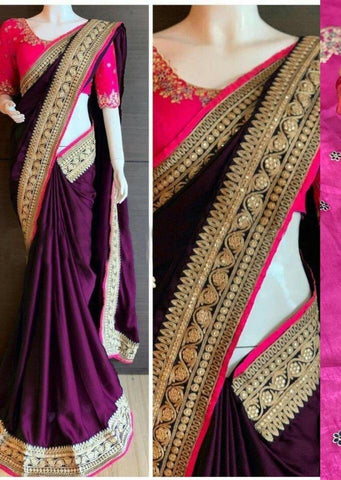 Purple Color Rangoli Silk Women's Saree - DNo.1056Purple