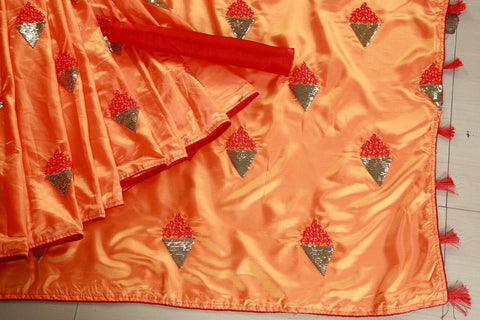 Orange Color Paper Silk Women's Saree - DNo.1062ORANGE