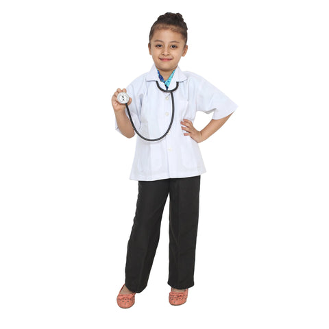 White Color Cotton Blend Fancy Costume Dress  - DOCTOR-1
