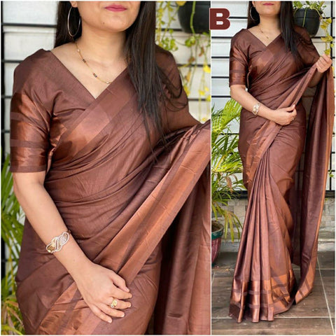 BROWN Color Dola silk Dyeing material Saree - DOLA SILK-01
