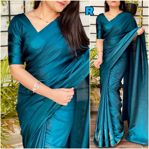 RAMA GREEN Color Dola silk Dyeing material Saree - DOLA SILK-03